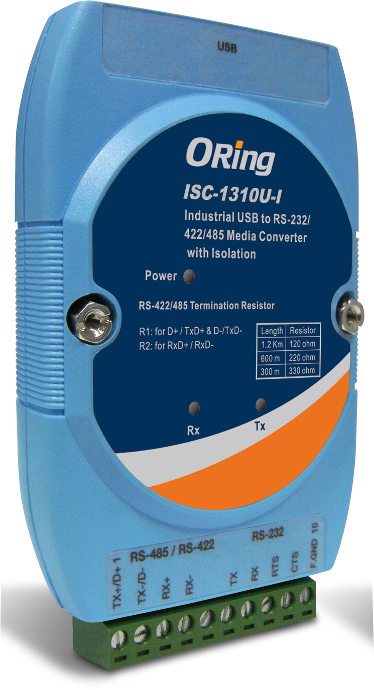 Oring Isc 1310u I Industrial Usb To Serial Media Converter With Surge And Optical Isolation Rs422 485